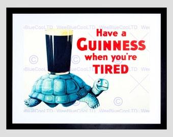 Guinness / Advert / Irish Gift / Ireland / Stout / Ale / Tortoise / Art Print Poster FEBB7387