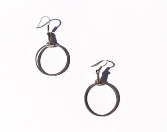 Vintage minimal sterling silver circle drop earrings