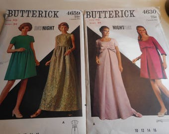 Vintage 1960's Butterick 4630 and 4659 Night/Day Dress Sewing Pattern Lot of 2, Size 10 Bust 31