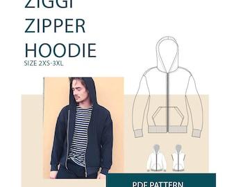 hoodie sewing pattern|Mens hoodie pattern PDF|zipper jacket PDF pattern|Zipper sweater PDF sewing pattern tutorial, men's sewing pattern pdf
