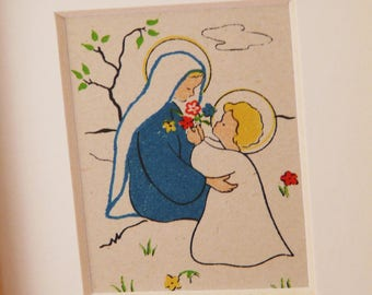 Frame Virgin old imagery children very soft and delicate birthday gift.