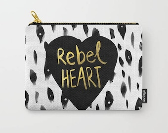artist designed carry all pouch-black-white-gold-typography-quote art- holiday gift for teen girls-make up bag-purse organizer-coin purse