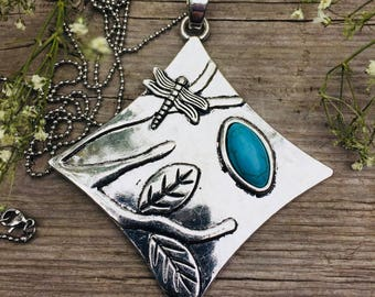 Antique Silver Tree and Dragonfly Turquoise Stone Pendant Necklace