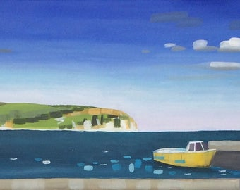Swanage boat trip - original painting / seascape / beach / boats