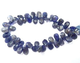 """Natural Gemstone FAceted Iolite Pears Beads Iolite Beads Loose Gemstone Beads Faceted Briolette Beads 8""""  Bdk-Ab71"""