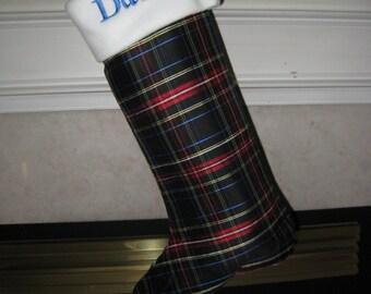 Plaid Silk Christmas stocking