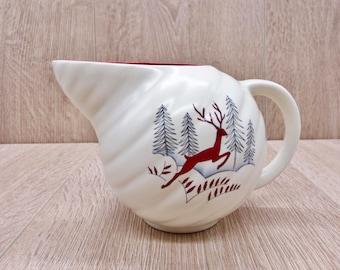 CROWN DEVON STOCKHOLM Jug Vintage Leaping Red Deer 1950's Milk Cream Jug
