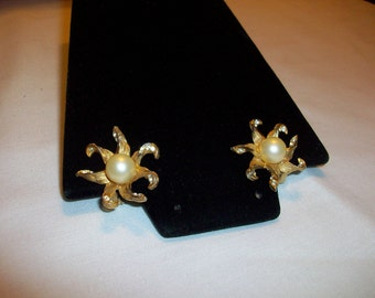Vintage BSK Gold Crystal and Pearl Clip Earrings circa 1960