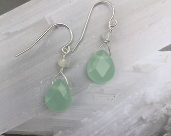 Chalcedony Glass w/Moonstone Earrings