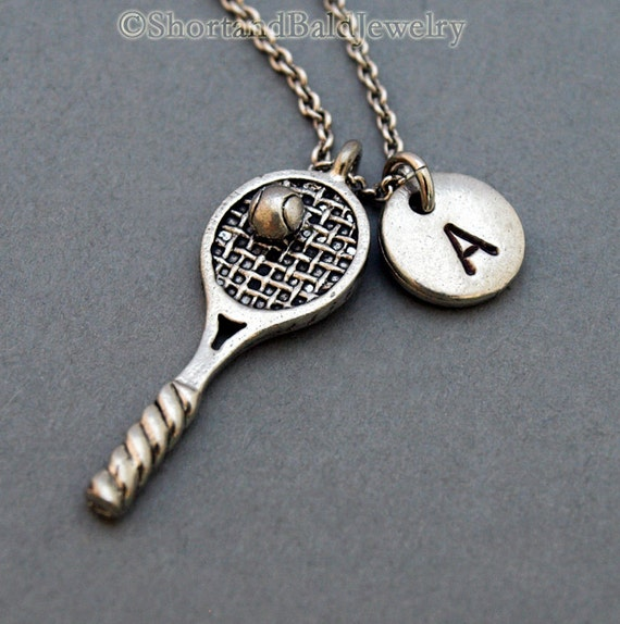 Tennis necklace tennis racket necklace tennis racquet like this item mozeypictures Gallery
