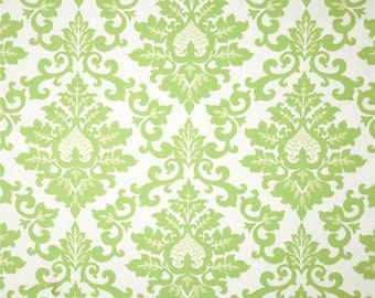 One Custom  Tailored Queen/King  Size Bedskirt  -   Damask - Kiwi Green/White
