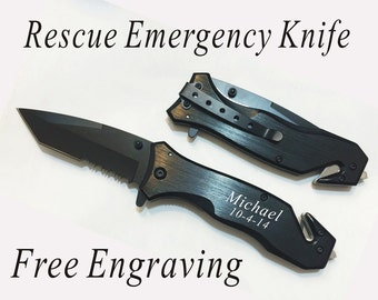 Set of 4 Groomsman gifts-Personalized Rescue Emergency knives,Engraved Folding knives, Custom pocket black Hunting knives -Groomsman gifts