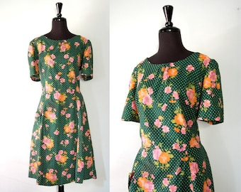 Vintage 1950s green floral polka dot day dress lg xlg