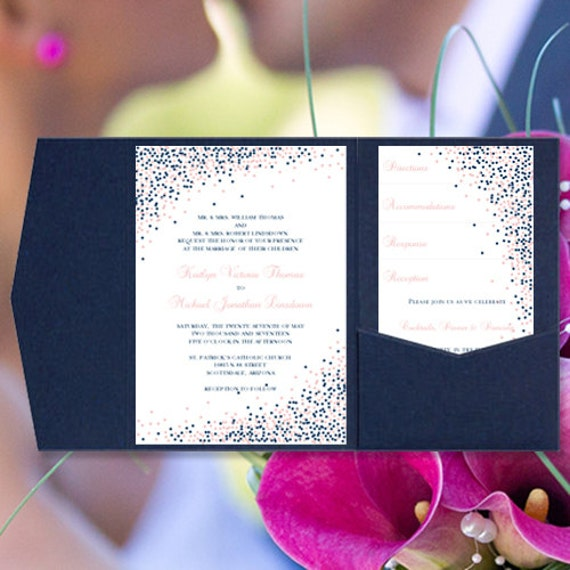 Pocket Wedding Invitations Confetti Navy Blue and