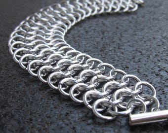 Aluminum European 4-1 Chainmail Bracelet, Cosplay Bracelet, Medieval Costume Jewelry, Chain mail jewelry, chainmaille bracelet