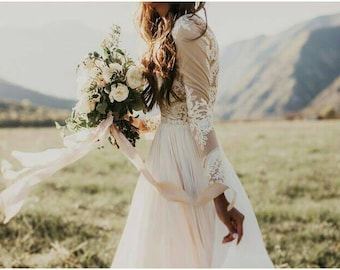 """Yours and Mine  Fall 2017 Womens Bridal Gown: """"Paisley"""" Long Sleeve, Full Length Chiffon Skirt, USA Seller, Custom Made"""