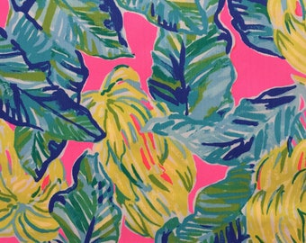 "pink sunset local flavor dobby cotton fabric square 18""x18"" ~ lilly spring 2018 ~ lilly pulitzer"