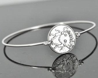 Bangle Bracelet, Sterling Silver, Zodiac Bracelet, Silver Birds Bracelet, Silver Bracelet, Stacking Bracelet, Silver Jewelry,  Gemini