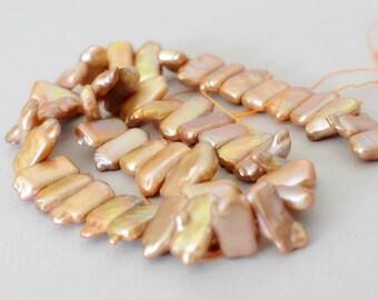 Rose Gold Stick Pearls - BIWA Pearls - 15mm x 7mm Pearls - Stick Pearl Strand - 16 in Pearl Strand - Side Drilled Pearls
