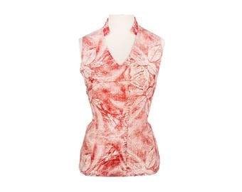 Bamboo V Neck Shirt: Handmade, Natural and Organic, One of a Kind, Flowy, Wearable Art Blouse