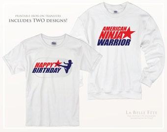 AMERICAN NINJA WARRIOR Kids Birthday Party *Printable Shirt Transfer Artwork*