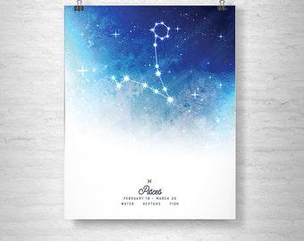 Pisces Poster, Zodiac Pisces Print, Zodiac Stars, Pisces Constellation