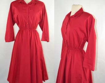1980s Cranberry Red Shirtwaist Dress by The American Shirt Dress