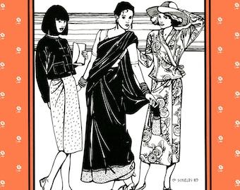 Folkwear South Asian Tops & Wraps Sewing Pattern # 134 sizes XS-3XL - Burmese Jacket, Thai Blouse, Indian Choli, Sarong Skirts, Saris