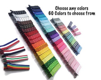 25 Stripe & Dots Lined Alligator Clips, 45mm, Stripe Clips, Dot Hair Clips, No Slip Hair Clips, Fully, Partially Lined, Double, Single Prong