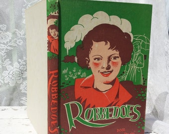Antique Vintage Book * Robbe does by M. Geisler-Plat. Coloured cover with illustrations approx. 1940 girls/Retro/tied/green Orange