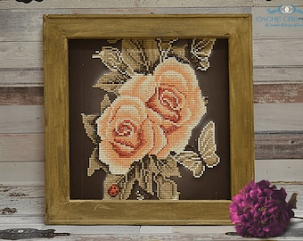 Roses and Butterflies Reverse Canvas Diamond Painting