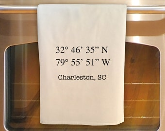 Flour Sack Tea Towel - CHARLESTON LATITUDE LONGITUDE:  Kitchen Towel