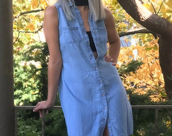 Vintage Mossimo Chambray Dress | Button Down | Sleeveless | XS | S