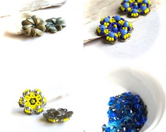 Blue Crystal Bead and Patina Flower Charm Set