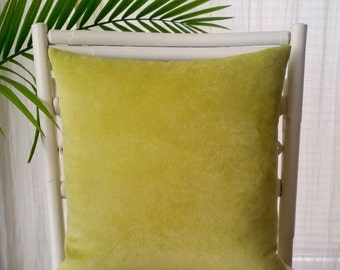 Velvet Chenille Solid Chartreuse Citrine Green Pillow Cover