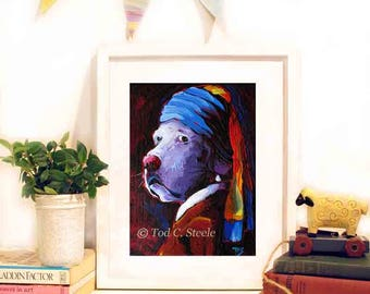 """Labrador Print,Lab Painting, Dog Art Print, Dog Painting, 'Lab with the Pearl Earring', 7 x 5"""", from Original Painting by Tod C Steele"""