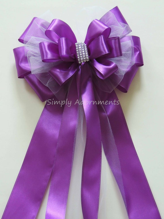 Purple White Tulle Wedding Pew Bow Purple Silver Bling Wedding Aisle Decoration Purple Wedding Chair Bow Purple Church Aisle Pew Bow