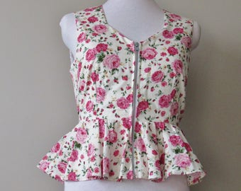 Blushing Pink Roses Peplum Top - Silver Zipper Front Top, Pink Floral Peplum Top, OOAK Cute Top in Size Large