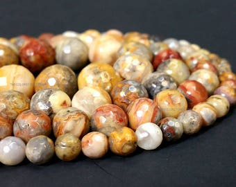 Wholesale Natural Crazy Lace Agate Faceted Round 6 8 10 or 12 MM. Full Strand Ship within 24 hr. from USA (G1147-MS)