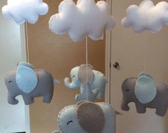 Elephant mobile,Elephant mobile grey,Elephant mobile blue, Elepant mobile blue grey, Elephant mobile boy