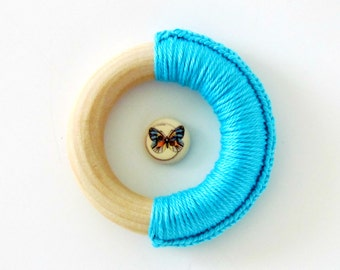 Aqua Crochet Baby Wooden Teething Ring - Colorful and Simple Baby Toy with no removable parts- Ready To Ship