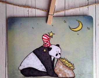 Postcard Panda and Stars, Cute Panda Postcard, Mini Panda Art Print