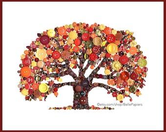 5e anniversaire cadeau Tree of Life Wall Art automne arbre décoration bouton Art Déco de l'automne arbre généalogique bouton Art Swarovski boutons de strass