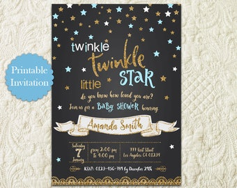 Twinkle Twinkle Little Star Blue And Gold Glitter Chalkboard Boy Baby Shower Printable Invitation Invite
