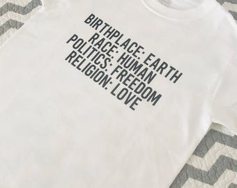 Birthplace-Race-Politics-Religion Kids Tee-Love-Human-Equality-Rights-Equal