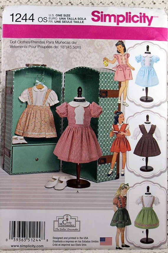 Einfachheit 1244 Puppenkleidung Schnittmuster 18