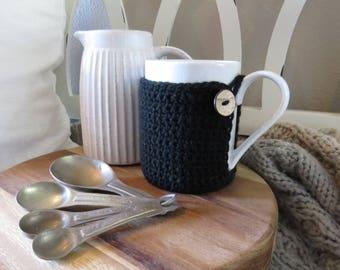 NEW!!! Sleek Black Crocheted Mug Cozie