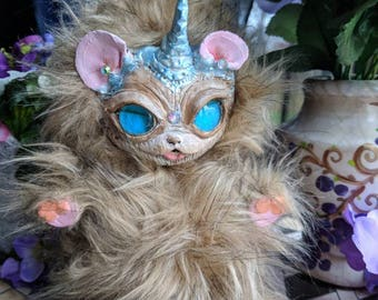 Art dolls, hand made fantasy hybrid creature, unicorn mouse Hybrid art doll, sculpted art doll alien baby toy, UniMouse fantasy doll