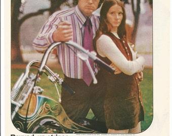 1971 Advertisement Career Club Shirts 70s Mens Fashion Couple Style Motorcycle Gas Tank Wall Art Decor