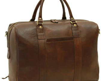 Leather Duffel Bag in Dark Brown made of Genuine Italian Leather - Travel Bag - Leather Bag - Laptop Bag - Leather Briefcase - Mens Gift